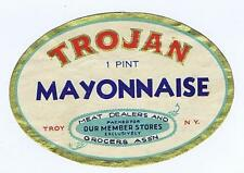 TROJAN Mayonnaise Meat Dealers Grocers Ass'n Troy NY original antique label #209