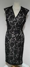 M&Co Gorgeous black & Nude lace wiggle party dress size 14