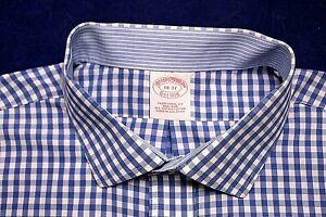 BROOKS BROTHER DRESS SHIRT size 18-37 medium blue white check NO IRON cotton