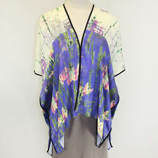 Citron Clothing Ocean Fish Print Open Front Cardigan Blouse Plus 2X
