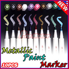 10 Colors set Assorted Metallic Paint Markers Pens Sheen Glitter Calligraphy Art