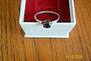 VINTAGE STERLING SILVER RING WITH AMETHYST STONE SIZE P STAMPED STERLING SILVER