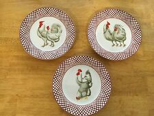 ELITE DECOR~(3) Decorative Use Only Dishes~Adorable Hen Scenes