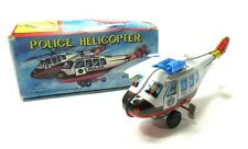 Vintage 1960s HR-822 Wind Up Tin Police Helicopter Toy with Box