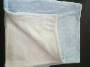 Blankets & Beyond Baby Boy security Blanket Blue White Polka Dots lovey soft new
