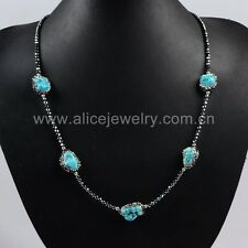 1 Strand Five Natural Turquoise Beads Necklace & Zircon Black Chain QJA201