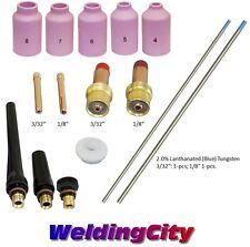 "TIG Welding Torch 17/18/26 Kit Collet-Gas Lens-Tungsten 3/32-1/8"" T54B US Seller"