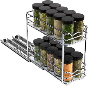"""Pull Out Spice Rack Organizer for Cabinet – Heavy Duty Slide Out Double Rack 4"""""""