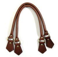 "18.2"" byhands Brown Genuine Leather Embossed Purse Handles, Bag Strap (22-4701)"