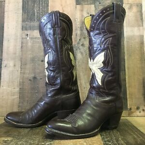 Justin 2484 Vtg Butterfly Inlay Cowboy Boots Mens 10 D