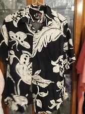 Jams World  FAB RARE VTG Shirt Black Cream Ti leaves M OOP Buttons! Hawaiian