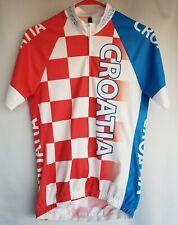 Short Sleeve Full Zip Up Men's Cycling Jersey Size Medium Red White Croatia