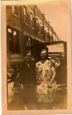 Old Vintage Photograph Two Older Woman Sitting on Bumper of Antique Car Auto