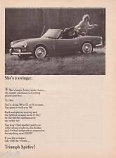"1964 Triumph Spitfire Photo ""Woman on Trunk"" print ad"