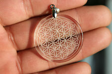 14g Natural Clear Quartz Crystal Flower of Life Pendant Carving  H89