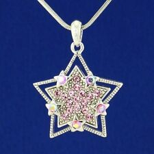 "Wish Star Necklace Made With Swarovski Crystal Pink Pendant Jewelry 18"" Chain"