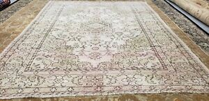 "Beautiful Antique Cr1930-1939s Muted Dyes 6'4""×8' Wool Pile  Oushak  Rug"