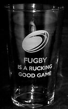 *RUGBY GIFT* Boxed PINT BEER GLASS with FUGBY IS A RUCKING GOOD GAME design