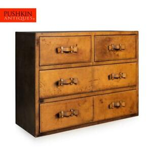 STUNNING 20thC ENGLISH LEATHER COVERED CHEST OF DRAWERS c.1970
