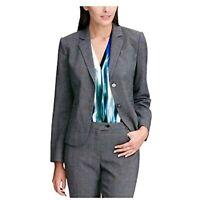 $139 Calvin Klein Womens Gray Plaid Blazer Wear to Work Jacket Silver Size 8