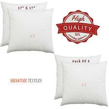 4 Pack 17 x 17 Inch Cushion Pad 43 x 43cm Square Anti Allergy Hollowfiber Inner