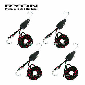 """4PCS 1/4"""" x 8 ft. 240cm 94"""" Ratchet Rope Tie Down Self-Locking Easy Load Strap"""
