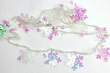 GISELA GRAHAM CHRISTMAS MINI BEADS IRID ACRYLIC SNOWFLAKE CHAIN GARLAND
