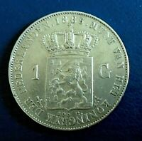 NETHERLANDS: 1865 Gulden, 945 silver - high grade, small obverse digs on head