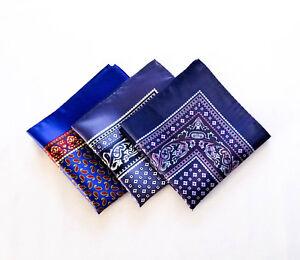 3 Italian Classic Top Pocket Square Paisley Floral Purple Blue Polka Dots