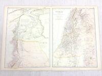 1888 Antik Map Of Syrien Palästina Die Hauran 19th Jahrhundert Blackie & Sohn