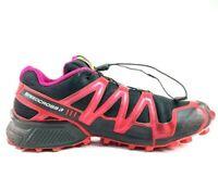 Salomon Womens Speedcross 3 Running Shoes Red Low Top Mesh Bungee Cord 308783 10