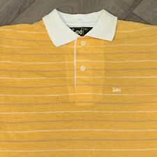 Lee Polo Collared Shirt Youth Boys XL Yellow White Striped VTG 80s Made in USA