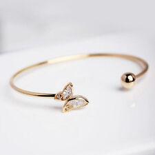 Women Creative Simle Design Girl Open Rhinestone Butterfly Bangle Bracelet