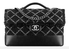 CHANEL TWEED TOP HANDLE FLAP BAG BLACK