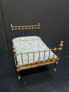 dolls house furniture vintage double black/gold soft metal bedstead 1.12th