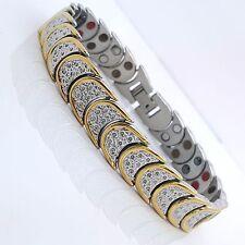 Para Hombres Damas De Acero inoxidable pulsera magnética bio 5 en 1 SG1 Plata/Oro