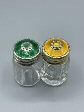 More details for david anderson art deco norway silver 925s & guilloche enamel salt & pepper pots