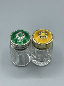 David Anderson Art Deco Norway Silver 925S & Guilloche Enamel Salt & Pepper Pots