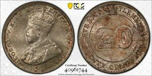 Straits silver George V 20 cents 1919 Bombay GEM toned uncirculated PCGS MS65