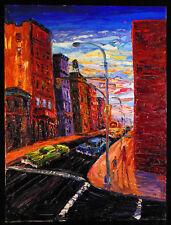 Original OIL Painting Arthur Robins New York City Art Buildings Streets Cars NYC