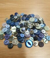 Mixture of  Vintage Buttons mostly small sizes.  green and blue mostly.