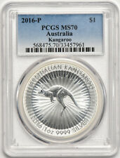 2016 P 1oz Silver Australia Kangaroo $1 Pcgs Ms 70 Spots