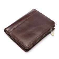Men's Genuine Leather Vertical Bifold Wallet Card Case Purse Brown