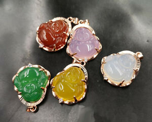Natural Multicolor Chalcedony Agate Gold Plated Buddha Pendant Necklace 佛教