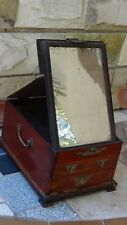 Antique Chinese Rosewood Make-Up Vanity Fold-Up Mirror Jewerly Box W/2 Drawers