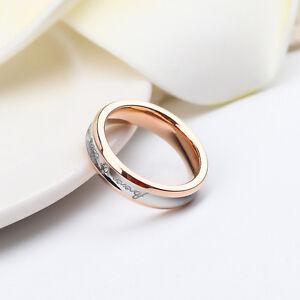 Forever Love Ring Silver & 18K Rose Gold Filled Crystal Wedding Engagement Ring