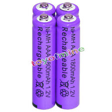 4x AAA battery batteries Bulk Nickel Hydride Rechargeable NI-MH 1800mAh 1.2V Pur
