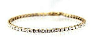 "CZ Cubic Zirconia 7.25"" INCH Bracelet REAL Solid 14 k Yellow GOLD 8.1 g"
