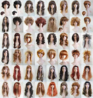 NEW Brown Copper Ginger Long Short Straight Curly Wavy Fancy Dress Party Wigs