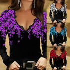 ⭐⭐⭐⭐⭐Womens Floral V Neck Lace Long Sleeve T Shirt Slim Fit Blouse Casual Tops